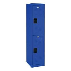 "One-Wide Double-Tier Storage Lockers (30"" H Openings) - shown in blue"