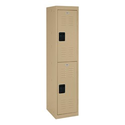 """One-Wide Double-Tier Storage Lockers (30"""" H Openings) - shown in tropic sand"""