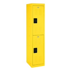 """One-Wide Double-Tier Storage Lockers (30"""" H Openings) - shown in yellow"""