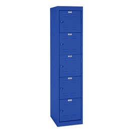 "One-Wide Five-Tier Storage Lockers (11"" H Openings) - shown in blue"