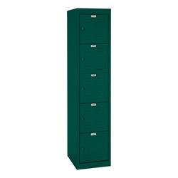 "One-Wide Five-Tier Storage Lockers (11"" H Openings) - shown in forest green"