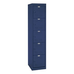 "One-Wide Five-Tier Storage Lockers (11"" H Openings) - shown in navy"