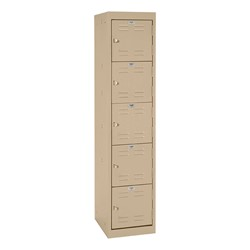 "One-Wide Five-Tier Storage Lockers (11"" H Openings) - shown in tropic sand"