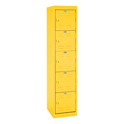 "One-Wide Five-Tier Storage Lockers (11"" H Openings) - shown in yellow"