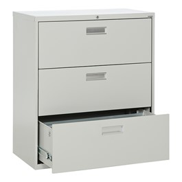 Lateral File Cabinet w/ Three Drawers & Aluminum Handles