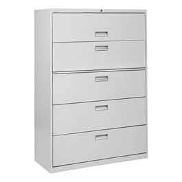 Lateral File Cabinet w/ Five Drawers & Aluminum Handles