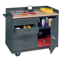 Mobile Service Bench w/ Cabinet & 5 Drawers