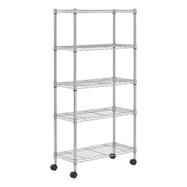 """Mobile Chrome Wire Shelving (30\"""" W x 14\"""" D x 60\"""" H)"""