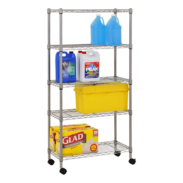 """Mobile Chrome Wire Shelving (30"""" W x 14"""" D x 60"""" H)"""