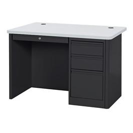 900 Series Heavy Duty Teacher\'s Desk w/ Single Pedestal - Black/Gray Nebula top