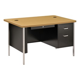 """600 Series Steel Teacher Desk - Single Pedestal (48\"""" W x 30\"""" D) - Black base & maple desktop"""