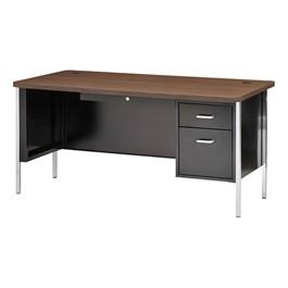 """600 Series Steel Teacher Desk - Single Pedestal (60\"""" W x 30\"""" D) - Black base & walnut desktop"""