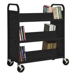 Double-Sided Sloped-Shelf Book Truck - Shown in black