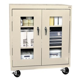 Clear View Series Mobile Counter-Height Cabinet