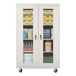 Clear View Mobile Storage Cabinet - Expanded Metal Fron