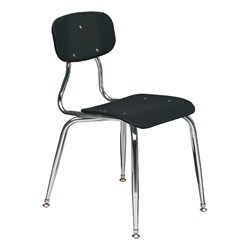 150 Series Solid Plastic Classroom Chair - Fixed Height - Black