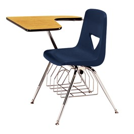 420 Series Polyethylene Shell Tablet Arm Desk - Fiberboard Top - Navy seat