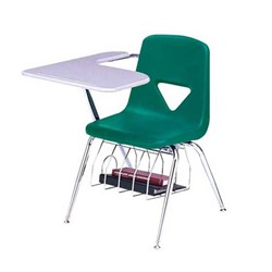 420 Series Polyethylene Shell Tablet Arm Desk - Solid Plastic Top - Teal seat
