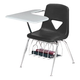 420 Series Polyethylene Shell Tablet Arm Desk - Solid Plastic Top - Black