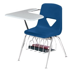 420 Series Polyethylene Shell Tablet Arm Desk - Solid Plastic Top - Primary blue