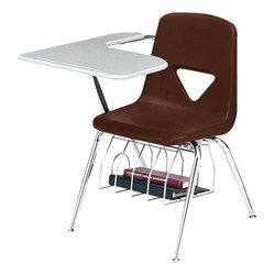 420 Series Polyethylene Shell Tablet Arm Desk - Solid Plastic Top - Brown