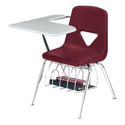 420 Series Polyethylene Shell Tablet Arm Desk - Solid Plastic Top - Burgundy
