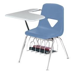 420 Series Polyethylene Shell Tablet Arm Desk - Solid Plastic Top - Blueberry