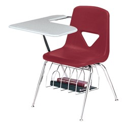 420 Series Polyethylene Shell Tablet Arm Desk - Solid Plastic Top - Primary red