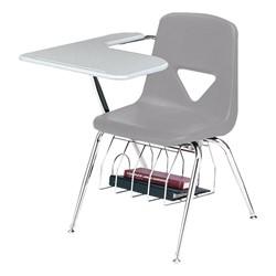 420 Series Polyethylene Shell Tablet Arm Desk - Solid Plastic Top - Light gray