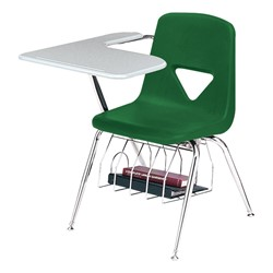 420 Series Polyethylene Shell Tablet Arm Desk - Solid Plastic Top - Primary green