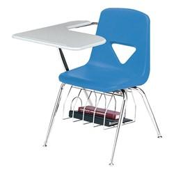 420 Series Polyethylene Shell Tablet Arm Desk - Solid Plastic Top - Gulf blue