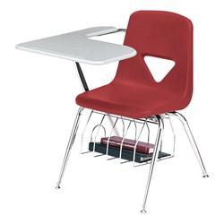 420 Series Polyethylene Shell Tablet Arm Desk - Solid Plastic Top - Cranberry