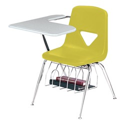 420 Series Polyethylene Shell Tablet Arm Desk - Solid Plastic Top - Primary yellow