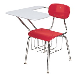 "450 Series 3/8"" Solid Plastic Tablet Arm Desk - Solid Plastic Top (15 1/2\"" Seat Height) - Cranberry seat & gray top"