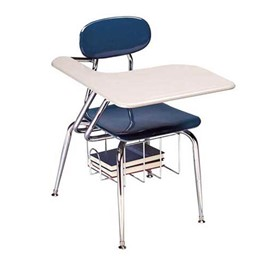 480 Series Solid Plastic Tablet Arm Desk - Solid Plastic Top - Navy seat