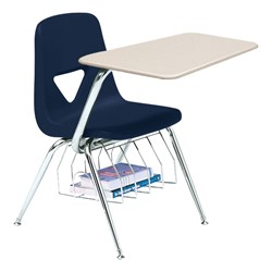 520 Series Polyethylene Shell Chair Desk - Solid Plastic Top - Beige top w/ navy seat