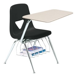 520 Series Polyethylene Shell Chair Desk - Solid Plastic Top - Beige top w/ black seat
