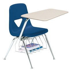520 Series Polyethylene Shell Chair Desk - Solid Plastic Top - Beige top w/ primary blue seat