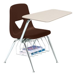 520 Series Polyethylene Shell Chair Desk - Solid Plastic Top - Beige top w/ brown seat