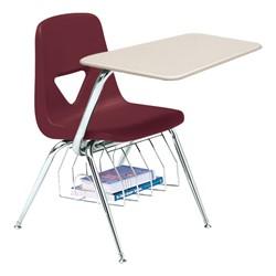 520 Series Polyethylene Shell Chair Desk - Solid Plastic Top - Beige top w/ burgundy seat