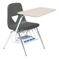 520 Series Polyethylene Shell Chair Desk - Solid Plastic Top - Beige top w/ charcoal seat