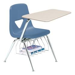 520 Series Polyethylene Shell Chair Desk - Solid Plastic Top - Beige top w/ cornflower blue seat