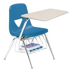 520 Series Polyethylene Shell Chair Desk - Solid Plastic Top - Beige top w/ gulf blue seat