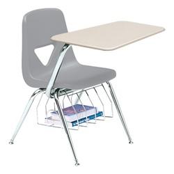 520 Series Polyethylene Shell Chair Desk - Solid Plastic Top - Beige top w/ light gray seat