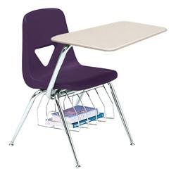 520 Series Polyethylene Shell Chair Desk - Solid Plastic Top - Beige top w/ purple seat