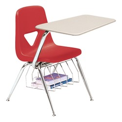520 Series Polyethylene Shell Chair Desk - Solid Plastic Top - Beige top w/ cranberry seat