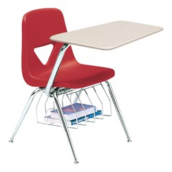 520 Series Polyethylene Shell Chair Desk - Solid Plastic Top - Beige top w/ primary red seat
