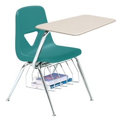 520 Series Polyethylene Shell Chair Desk - Solid Plastic Top - Beige top w/ teal seat