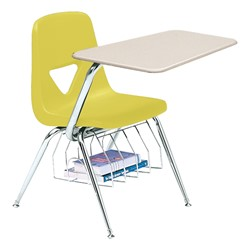 520 Series Polyethylene Shell Chair Desk - Solid Plastic Top - Beige top w/ primary yellow seat