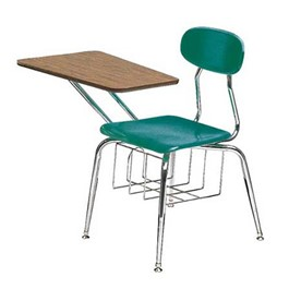 580 Series Solid Plastic Chair Desk - Fiberboard Top - Teal seat